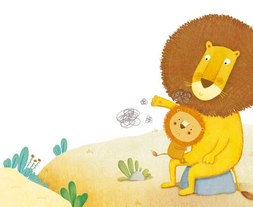 Marta Cabrol Illustration - marta cabrol, marta, cabrol, painted, digital, novelty, picture book, commercial, educational, sweet,cute,  young, fiction, acrylic, trade, young reader, YA, colour, colourful, animal, lion, lion cub, baby, mummy, mum, knee, comfort, cuddle, rocks, trees, flowers