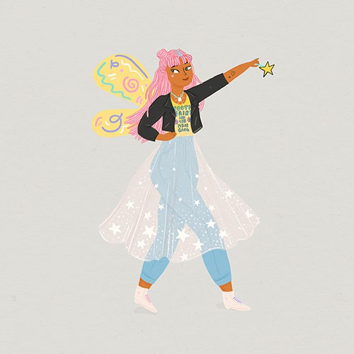 Melissa Chaib Illustration - Melissa Chaib, Melissa, Chaib, pencil, traditional, digital, photoshop, line work, colourful, colour, fairy, wings, magical, fantasy, wand, magic, tooth fairy, tutu, jeans, teenager, worman, character, punk, cool,