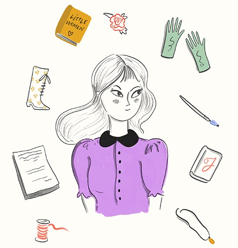 Melissa Chaib Illustration - Melissa Chaib, Melissa, Chaib, pencil, traditional, digital, photoshop, line work, colourful, colour, character, woman, girl, little women, classic, book, gloves, necklace, paper, pages, thread, boots, pen, writing, items,