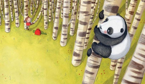 Miriam Latimer Illustration - miriam latimer, acrylic, paint, painted, traditional, commercial, picture book, picturebook, sweet, children, girls, people, animals, pandas, forest, trees
