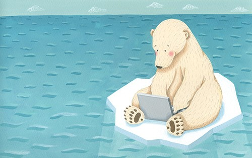 Miriam Latimer Illustration - miriam latimer, acrylic, paint, painted, traditional, commercial, picture book, picture book, sea, ocean, water, polar, animal, laptop, iceberg