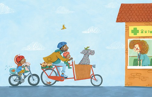 Miriam Latimer Illustration - miriam latimer, acrylic, paint, painted, traditional, commercial, picture book, picture book, dog, animal, vet, bike