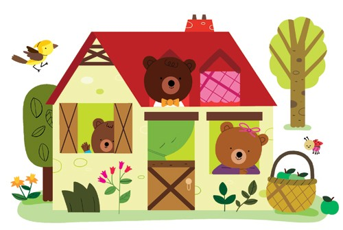 Melisande Luthringer Illustration - melisande luthringer, digital, commercial, novelty, educational, animals, bears, cottage, three bears, goldilocks and the three bears