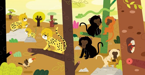 Melisande Luthringer Illustration - melisande luthringer, digital, commercial, novelty, educational, animals, jungle, leopards, monkeys, snakes, birds, trees