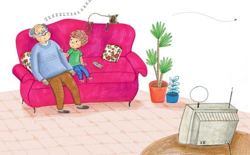 Mirella Mariani Illustration - mirella, mariani, mirella mariani,  photoshop, hand drawn, crayon , educational, commercial, picture books, people, child, person, man, grandad, grandpa, boy, cute, animal, cat, kitten, fly, television, t.v, sofa, plants, colourful, colour, YA, young read