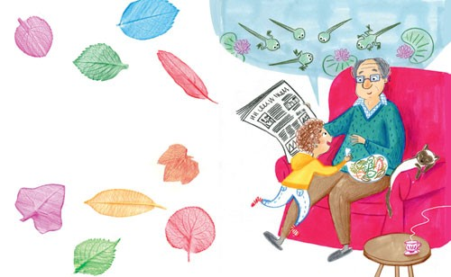 Mirella Mariani Illustration - mirella, mariani, mirella mariani, photoshop, hand drawn, crayon , educational, commercial, picture books, people, child, person, man, grandad, grandpa, boy, leaves, cat, animal, story time, tea, YA, young reader, seat, chair, newspaper