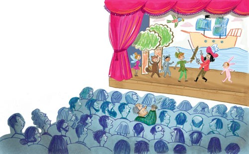 Mirella Mariani Illustration - mirella, mariani, mirella mariani, photoshop, hand drawn, crayon , educational, commercial, picture books, people, child, person, man, grandad, grandpa, boy, crowd, performance, theatre, play, school, school play, curtains, props, boat, chip, pirate ship,