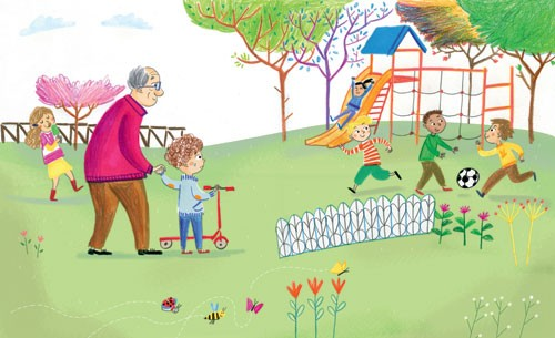 Mirella Mariani Illustration - mirella, mariani, mirella mariani, photoshop, hand drawn, crayon , educational, commercial, picture books, people, child, person, man, grandad, grandpa, boy, park, playground, children, football, scooter, trees, flowers, bee, YA, young reader