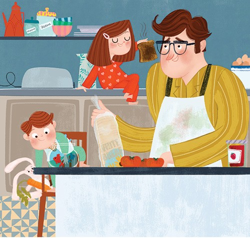 Marisa Morea Illustration - marisa, morea, marisa morea, trade, picture books, greetings cards, editorial, fiction, advertising, magazines, stationary, printed, textured, painted, digital, photoshop, illustrator, dad, father, family, daughter, son, siblings, teddy, shop, kitchen, ja