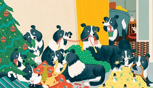 Marisa Morea Illustration - marisa, morea, marisa morea, trade, picture books, greetings cards, editorial, fiction, advertising, stationary, painted, digital, photoshop, illustrator, YA, young reader, dogs, animals, christmas, festive, seasonal
