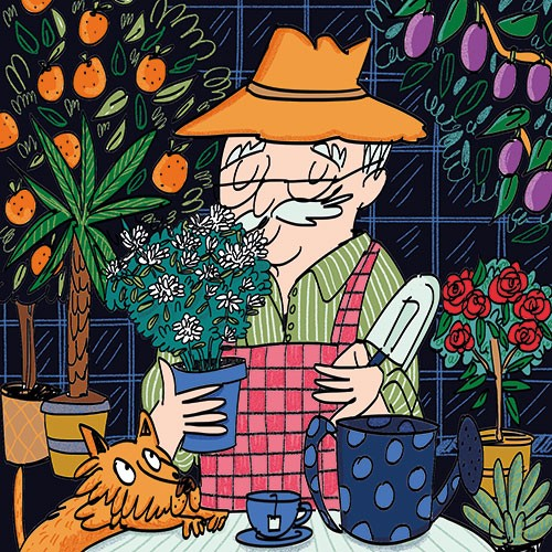 Maria Serrano  Illustration - maria serrano canovas, maria, serrano, canovas, digital, photoshop, illustrator, editorial, poster, educational, picture book, commercial, mass market, secret, garden, man, granddad, grandpa, flowers, plants, trees, roses, oranges, plums, cat, watering