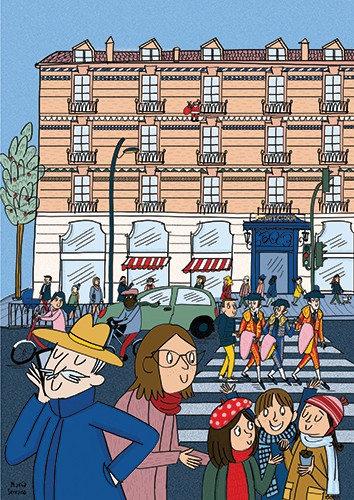 Maria Serrano  Illustration - maria serrano canovas, maria, serrano, canovas, digital, photoshop, illustrator, editorial, poster, educational, picture book, commercial, mass market, city, streets, busy, people, buildings, car, figures, men, women, children, crossing