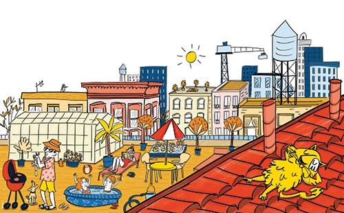 Maria Serrano  Illustration - maria serrano canovas, maria, serrano, canovas, digital, photoshop, illustrator, editorial, poster, educational, picture book, commercial, mass market, city, cat, roof, relaxing, town, buildings, sun, crane, children, summer, bbq, outside, relaxing,