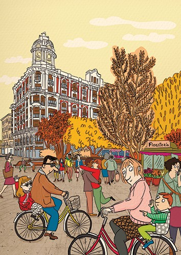 Maria Serrano  Illustration - maria serrano canovas, maria, serrano, canovas, digital, photoshop, illustrator, editorial, poster, commercial, mass market, town, streets, buildings, busy, people, bikes, bicycles, men, women, children, autumn, seasonal, trees