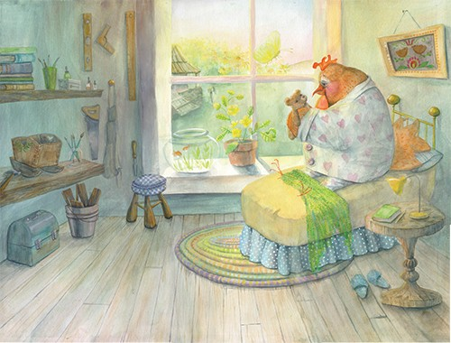 Melissa Shultz-Jones Illustration - melissa, shultz-jones, melissa shultz-jones, traditional, paint, painted, watercolour, greetings cards, mass market, commercial, folk, picture book, stationary, cute, sweet, young, animals, farm, chicken, hen, rooster, home, room, bed, teddy, pyjamas, pai