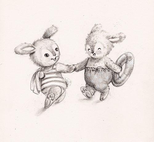 Melissa Shultz-Jones Illustration - melissa, shultz-jones, melissa shultz-jones, traditional, pencil, sketch, B&W, b&w, black & white, greetings cards, mass market, commercial, folk, picture book, stationary, cute, sweet, young, animals, rabbits, bunnies, bunny, ring, hands, friends