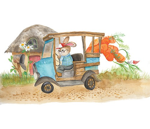 Melissa Shultz-Jones Illustration - melissa, shultz-jones, melissa shultz-jones, traditional, paint, painted, watercolour, greetings cards, mass market, commercial, folk, picture book, stationary, cute, sweet, young, animals,rabbit, carrots, gardening, farm, hat, glasses, humour, truck, tra