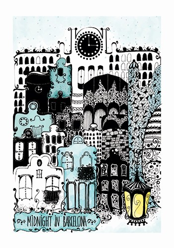 Madalina Tantareanu Illustration - madalina, tantareanu, madalina tantareanu, stationary, greetings cards, licensing, detailed, black and white, b&w, line, pencil, city, city scape, barcelona, spain, buildings, gaudy, lamp, windows, doors, houses, homes, town
