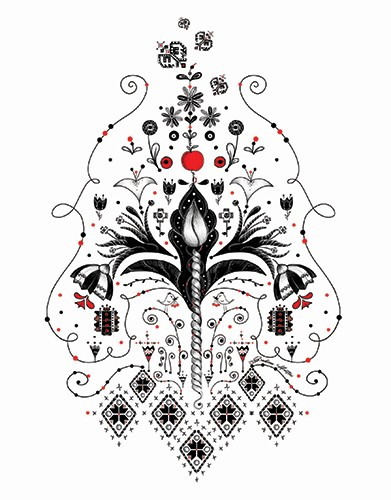 Madalina Tantareanu Illustration - madalina, tantareanu, madalina tantareanu, stationary, greetings cards, licensing, detailed, black and white, b&w, line, pencil, pattern, pretty, cute, detailed, flowers, birds,