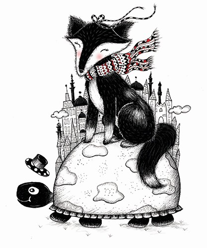 Madalina Tantareanu Illustration - madalina, tantareanu, madalina tantareanu, stationary, greetings cards, licensing, detailed, black and white, b&w, line, pencil, fox, cute, turtle, world, planet, ribbons, buildings, town, hat