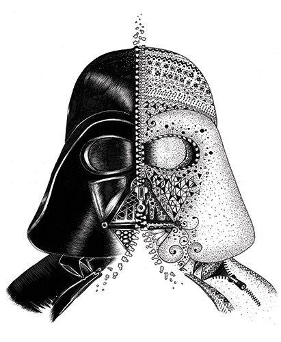 Madalina Tantareanu Illustration - madalina, tantareanu, madalina tantareanu, stationary, greetings cards, licensing, detailed, black and white, b&w, line, pencil, black line, darth vader, helmet, star wars, pattern, detail, design