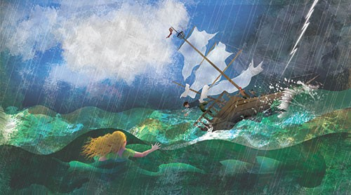 Milly Teggle Illustration - milly, teggle, milly teggle, photoshop, adobe, digital art, adobe photoshop, digital, texture, textured, textures, picture book, commercial, educational, ocean, sea, waves, storm, ship, boat, sail, mermaid