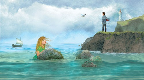 Milly Teggle Illustration - milly, teggle, milly teggle, photoshop, adobe, digital art, adobe photoshop, digital, texture, textured, textures, picture book, commercial, educational, mermaid, rock, sea, ocean,