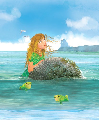 Milly Teggle Illustration - milly, teggle, milly teggle, photoshop, adobe, digital art, adobe photoshop, digital, texture, textured, textures, picture book, commercial, educational, mermaid, girl, lady, colours, colourful, sea, ocean, animal, fish, castle, rock, seagull, bird