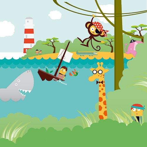 Neil Clark Illustration - neil, clark, neil clark, digital, photoshop, illustrator, picture book, young reader, mass market, young, board, characters, pirates, sea, ocean, water, waves,  shark, monkey, giraffe, elephant, bandana,