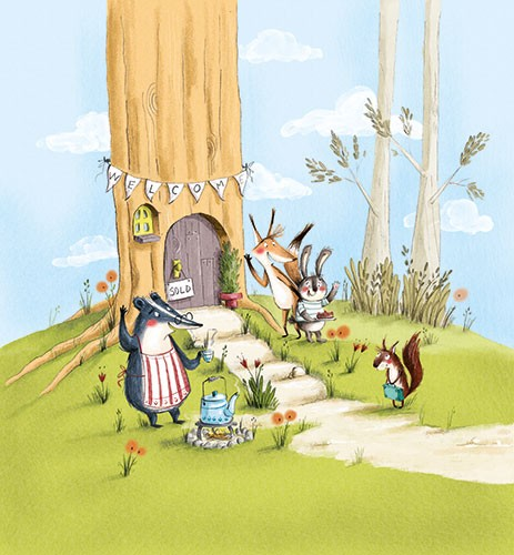 Olivia Beckman Illustration - olivia, beckman, olivia beckman, marta, fernandez, marta fernandez, trade,fiction, editorial, picture book, greetings cards, cute, sweet, young, painted, digital, photoshop, traditional, textured woodland, tree, nature, animals, wildlife, badger, rabbit,