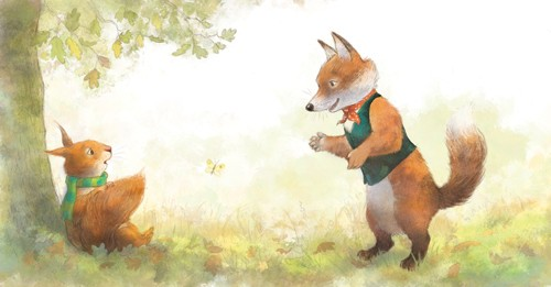 Petra Brown Illustration - etra, brown, petra brown, watercolour, paint, painted, commercial, traditional, trade, picture book, picture book, cute, sweet, young, squirrel, fox, tree, park, nature, trees, leaves, autumn, jacket,
