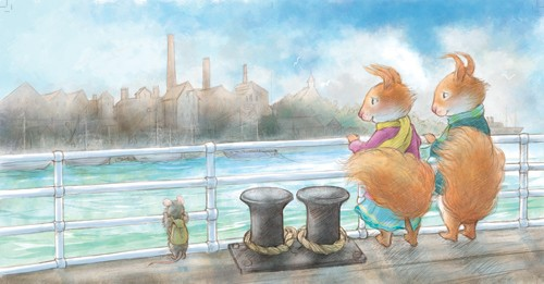 Petra Brown Illustration - etra, brown, petra brown, watercolour, paint, painted, commercial, traditional, trade, picture book, picture book, cute, sweet, squirrels, partners, boy, girl, sea, ships, boats, mouse, harbour