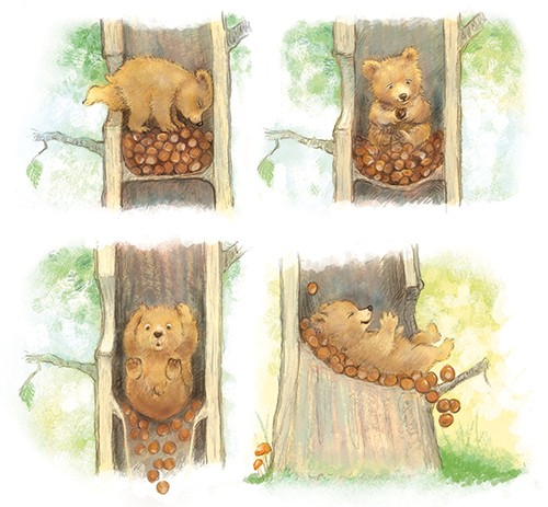 Petra Brown Illustration - petra, brown, petra brown, watercolour, paint, painted, commercial, traditional, trade, picture book, picture book, cute, sweet, young, bear, cub, playing, tree, conkers