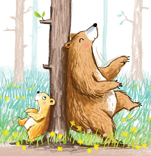 Paula Bowles Illustration - paula, bowles, paula bowles, digital, illustrator, photoshop, cute, sweet, YA, young reader, commercial, picture book, fiction, coloured pencil, sketchy, hand, drawn, bear, scratching, tree, woods, planet, earth, nature, wildlife, humour