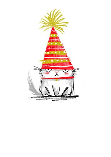 Paula Bowles Illustration - paula, bowles, paula bowles, digital, illustrator, photoshop, cute, sweet, YA, young reader, commercial, picture book, fiction, coloured pencil, sketchy, hand, drawn, cat, grumpy, birthday, cake, candle, licensing, card,