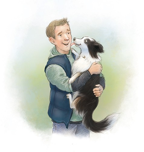 Petra Brown Illustration - petra, brown, petra brown, watercolour, paint, painted, commercial, traditional, trade, picture book, picture book, man, farmer, dog, puppy, friends, walk, outdoors, nature, coat, jacket, love, happy