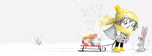 Paula Bowles Illustration - paula, bowles, paula bowles, digital, illustrator, photoshop, cute, sweet, YA, young reader, commercial, picture book, fiction, coloured pencil, sketchy, hand, drawn, christmas, festive, hat, scarf, cold, winter, sledge, ice, presents, bunny, rabbit