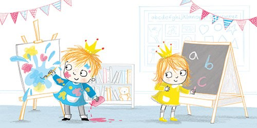 Paula Bowles Illustration - paula, bowles, paula bowles, digital, illustrator, photoshop, cute, sweet, YA, young reader, commercial, picture book, fiction, coloured pencil, sketchy, hand, drawn, girl, boy, school, peers, friends, paint, art, fun, laugh, cute, sweet, bunting, flags, craft, prince, princess, crown