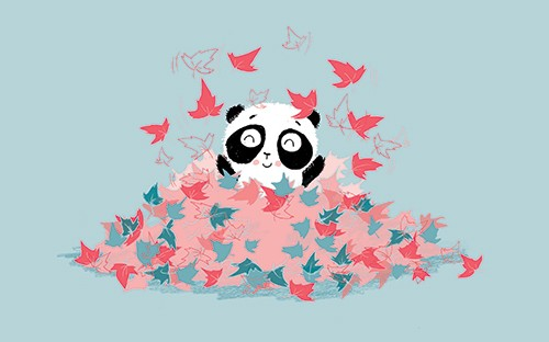 Paula Bowles Illustration - paula, bowles, paula bowles, digital, illustrator, photoshop, cute, sweet, YA, young reader, commercial, picture book, fiction, coloured pencil, sketchy, hand, drawn, panda, cute, sweet, young, autumn, leaves, fall, seasons, playing, fun,
