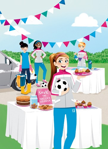 Paula Franco Illustration - paula franco, paula, franco, mass, commercial, digital, educational, advertising, editorial, novelty, fiction, young reader, photoshop, illustrator, girls, women, teenagers, female, friends, class, class mates, school, football, bake sale, baking, game, c