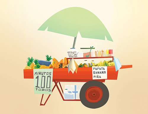 Patricia Hu Illustration - patricia, hu, patricia hu, illustration, digital, pencil, photoshop, colourful, trade, commercial, mass market, picture book, cart, food, food cart, fruit, bananas, pineapples, umbrella, wheels,