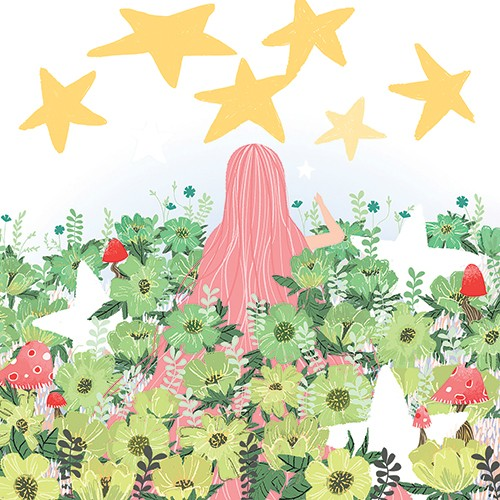 Patricia Hu Illustration - patricia, hu, patricia hu, illustration, digital, pencil, photoshop, colourful, trade, commercial, mass market, picture book, girl, person, figure, hair, pink, pink hair, field, grass, plants, flowers, stars, mushrooms, nature,