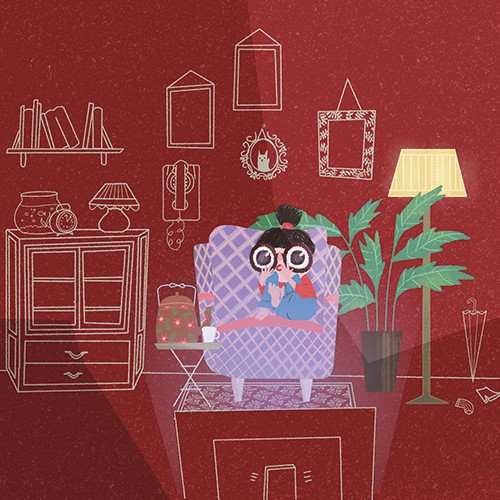 Patricia Hu Illustration - patricia, hu, patricia hu, illustration, digital, pencil, photoshop, colourful, trade, commercial, mass market, picture book, girl, person, figure, character, armchair, chair, room, home, lounge, living room, tv, television, screen, scared, eyes, glasses,