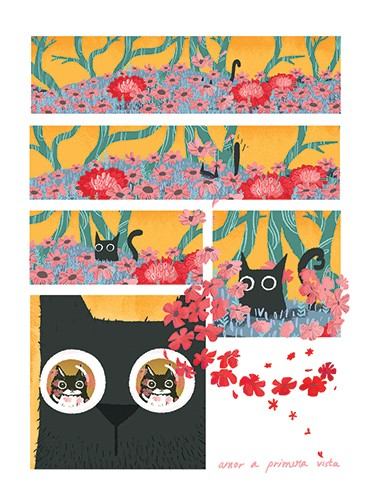 Patricia Hu Illustration - patricia, hu, patricia hu, illustration, digital, pencil, photoshop, colourful, trade, commercial, mass market, picture book, cat, animals, pet, black and white, garden, flowers, trees, nature, field, tail, grass, love,