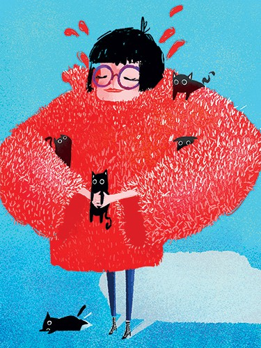 Patricia Hu Illustration - patricia, hu, patricia hu, illustration, digital, pencil, photoshop, colourful, trade, commercial, mass market, picture book, woman, person, figure, coat, fluffy coat, cats, pets, cute, funny, sweet, kittens, happy, smile, glasses