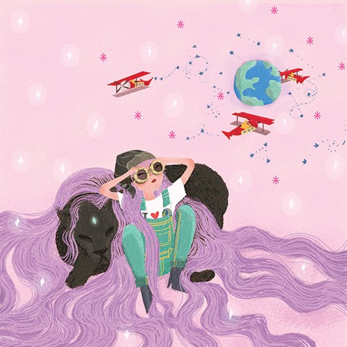 Patricia Hu Illustration - patricia hu, illustration, digital, pencil, photoshop, colourful, trade, commercial, mass market, picture book, purple, girl, person, figure, goggles, pilot, planes, aeroplanes, airplanes, earth, planet, adventure, stars, sky, panther, animals, pet