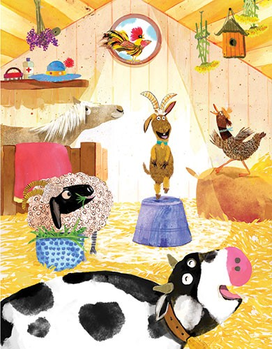 Puy Pinillos Illustration - puy, pillinos, puy pillinos, digital, mixed media, trade, commercial, picture book, novelty, animals, birds, bright, colourful, young, farmyard, animals, sheep, horse, chicken, bird, cow, socks, sky, lettering, grass, wildlife, barn