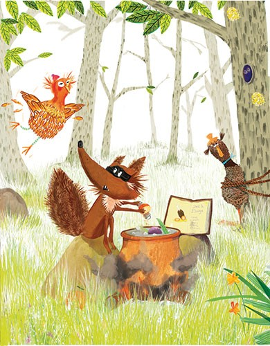 Puy Pinillos Illustration - puy, pillinos, puy pillinos, digital, mixed media, trade, commercial, picture book, novelty, animals, birds, bright, colourful, young, farmyard, animals, grass, woods, wolf, bandit, forest, pot, cooking, food, book, chicken