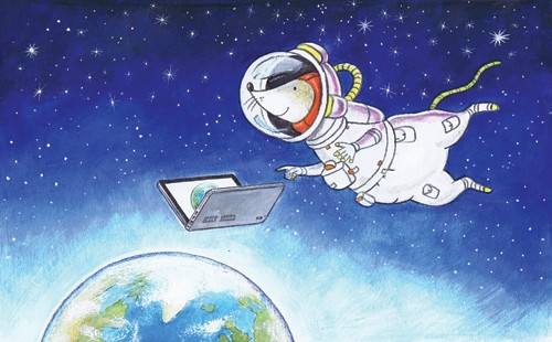 Peter Wilks Illustration - peter, wilks, peter wilks, paint, painted, watercolour, water colour, traditional, commercial, educational, picture book, picturebook, fiction, acrylic, colour, colourful, YA, young reader, animal, mouse, space, astronaut, transfer, stars, earth, planet,