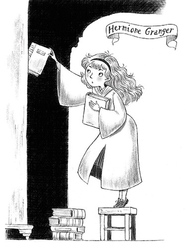 Roberta Tedeschi Illustration - roberta tedeschi, roberta, tedeschi, digital, photoshop, illustrator, educational, fiction, YA, young reader, hermione granger, harry potter, character, magic, black and white, b+w, books, library, sketch